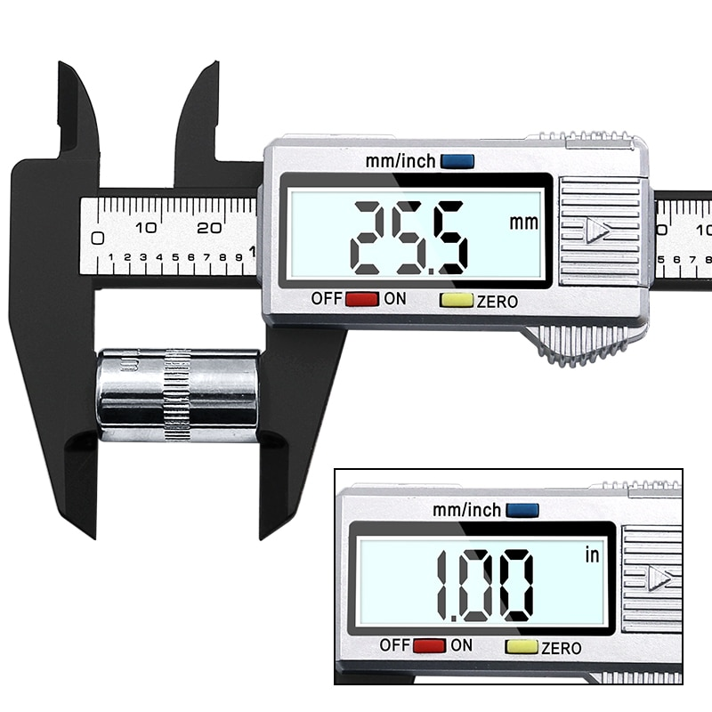 "Digital Caliper Electronic Gauge Carbon Fiber Vernier Micrometer Ruler 150mm 6/"""